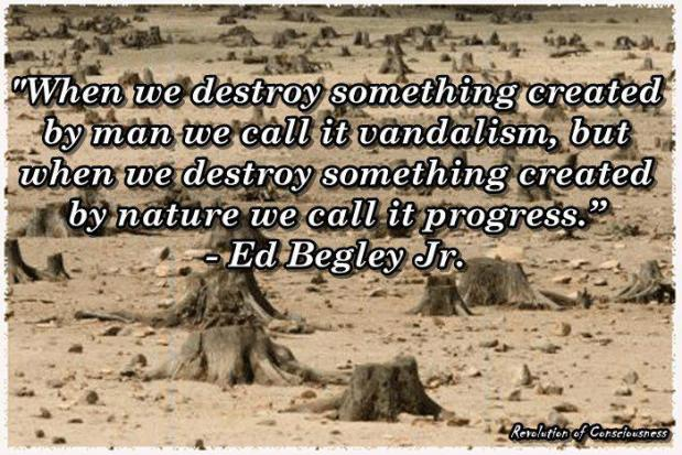 When we destroy something created by man we call it vandalism , but when we destroy something created by nature we call it progress.